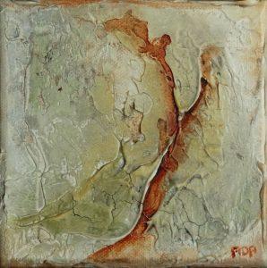 Stroming I (15x15cm, marmermeel met olie, 2016)