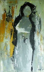 Woman II (40x80cm, acryl met paletmes, 2017) *VERKOCHT*