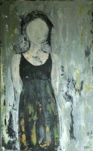 Woman I (40x80cm, acryl met paletmes, 2017) *VERKOCHT*