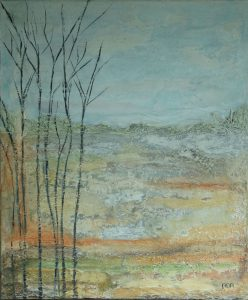 Ruw landschap (40x50cm, marmermeel met pigment, 2017)