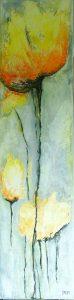 Bloem I (25x100cm, marmermeel, inkt en pigment, 2017) *VERKOCHT*