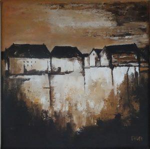 De oude stad (30x30cm, acryl met paletmes, 2017)