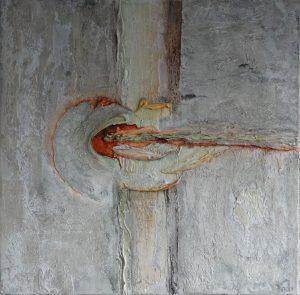 Ontlading (80x80cm, marmermeel met pigmenten, 2016)