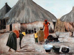 Afrika (80x60cm, acryl met paletmes, 2013)