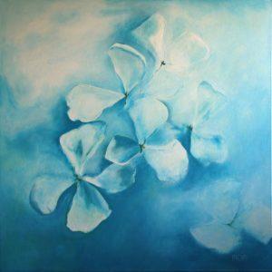 Bloemen aqua (70x70cm, opdracht in acryl, 2011)