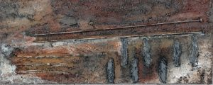 Herinnering aan mijn moeder (50x20cm, materieschilderen met tegellijm,  2015)