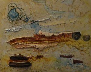 Strandvondsten (50x40cm, marmermeel met pigmenten, 2015)