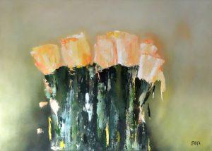 Tulpen (70x50cm, olie met paletmes, 2015) *VERKOCHT*