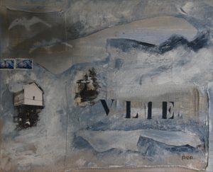 Vlieland (50x40cm, workshop collage van Vlieland in acryl, 2012)