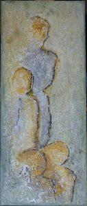 Gezin (20x50cm, marmermeel met olie, 2018)