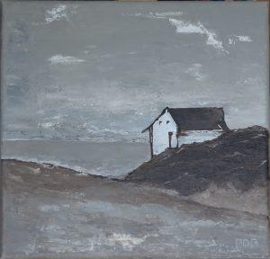 Huis aan het meer (30x30cm, acryl met paletmes, 2017)
