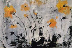 Gele Klaproos (50x40cm, marmermeel met acryl, 2019)