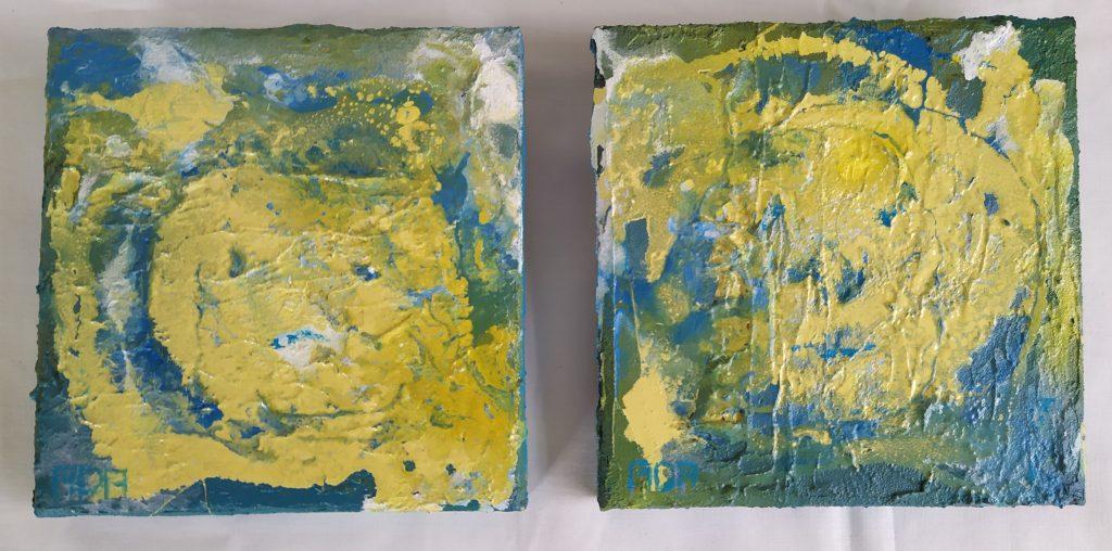 Zusjes (Tweeluik 15x15cm, acryl mixed media, 2019)